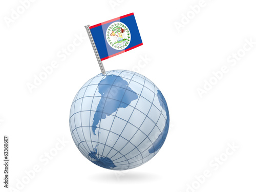 Globe with flag of belize