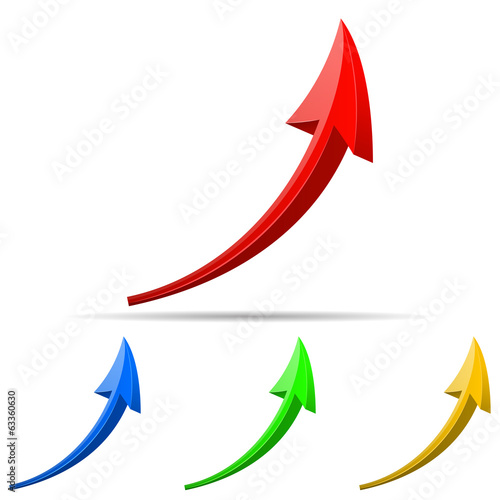 3d arrows different colors. Vector illustrations