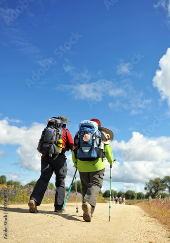 Pilgrims on the Camino de Santiago, Spain