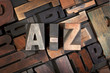 A-Z written with antique letterpress type