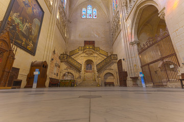 The famous stairs in Burgos Cathedral in Spain