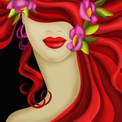 fiori tra i capelli rossi