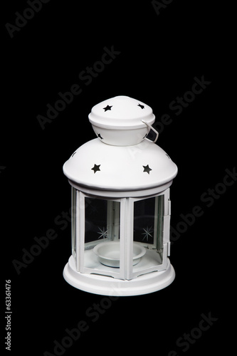 White Lantern on black background