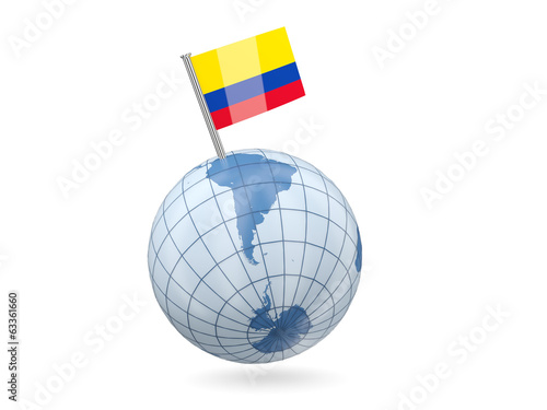 Globe with flag of colombia