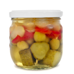 a jar with spanish banderillas, skewers with pickles