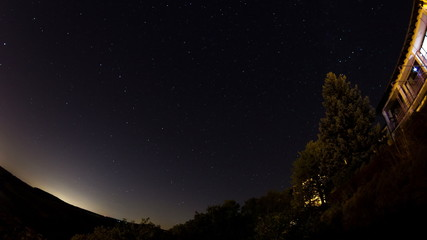 night sky timelapse with fisheye lens