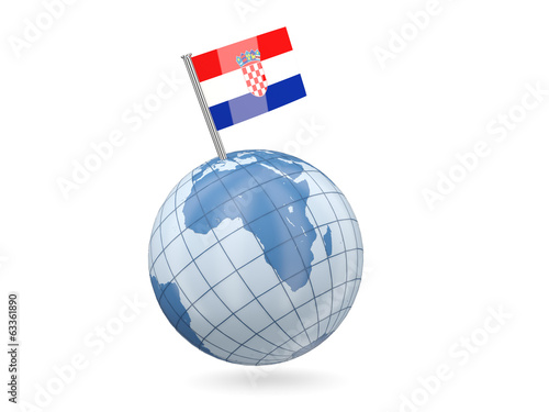 Globe with flag of croatia