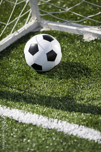canvas print picture Soccer ball and goal net