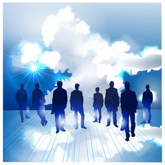 Background made of clouds, Business people