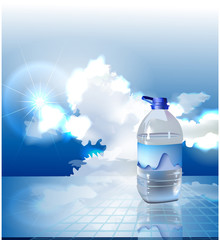 Background made of clouds, Bottle of water