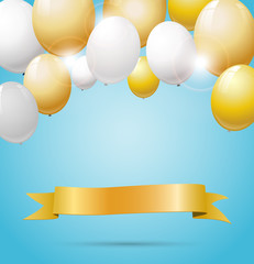 Golden banner with golden and white balloons.