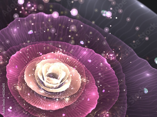 pink abstract flower with sparkles