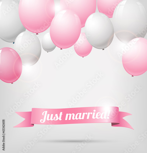 wedding banner with pink and white balloons
