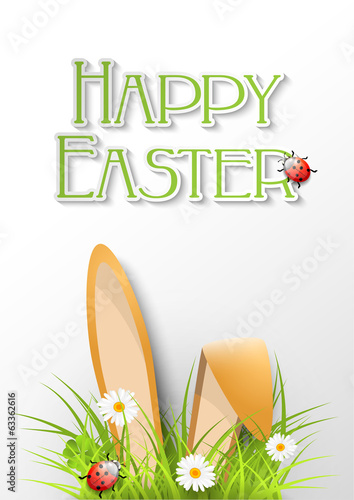 Easter greeting card with fresh grass, ears of bunny and a ladyb
