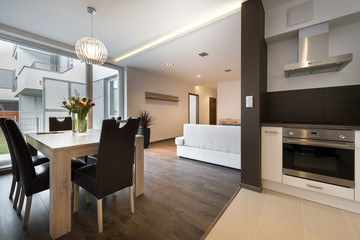 Modern interior design with dinning table