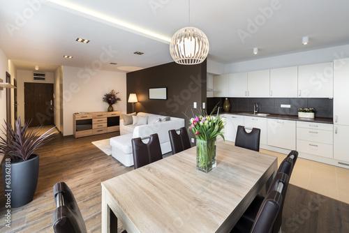 Leinwanddruck Bild Luxurious kitchen with living area