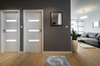 Leinwanddruck Bild - Corridor and living room  in modern apartment