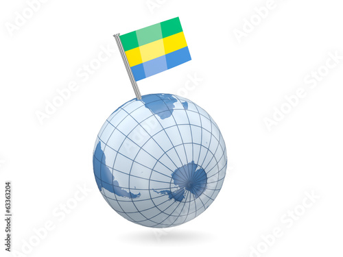 Globe with flag of gabon