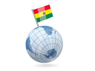 Globe with flag of ghana