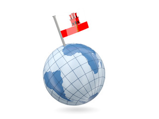 Globe with flag of gibraltar