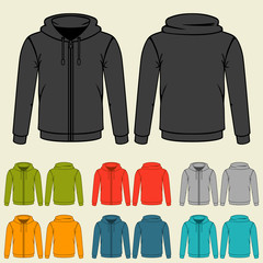 Set of templates colored sweatshirts for men.