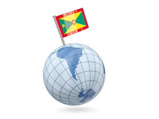 Globe with flag of grenada