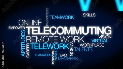 Telecommuting remote work telework word tag cloud