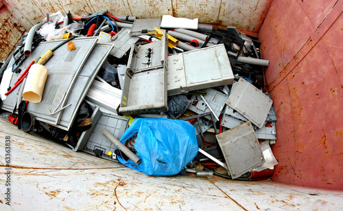 container with plastic parts broken and damaged plastic material