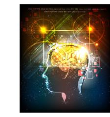 human's head generating ideas, neon background