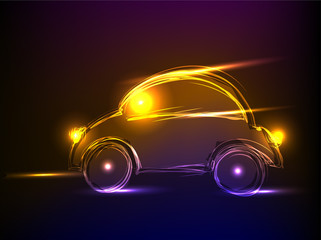 neon car, background