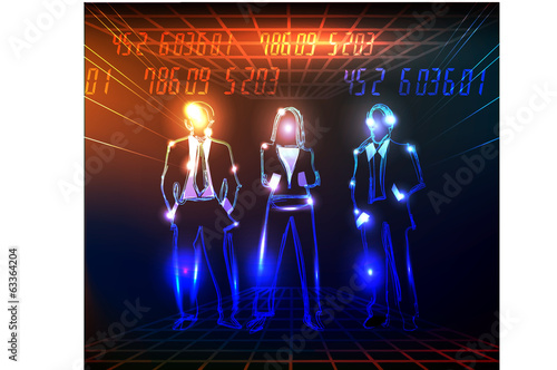 neon business team background
