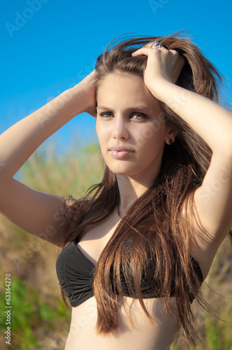 portrait of beautiful girl with long hair.