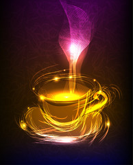 cup of coffee Neon background, collection of symbols,