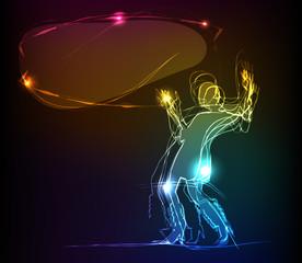 Pousing neon girl