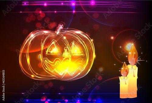 neon Hallowen background, Pumpkin