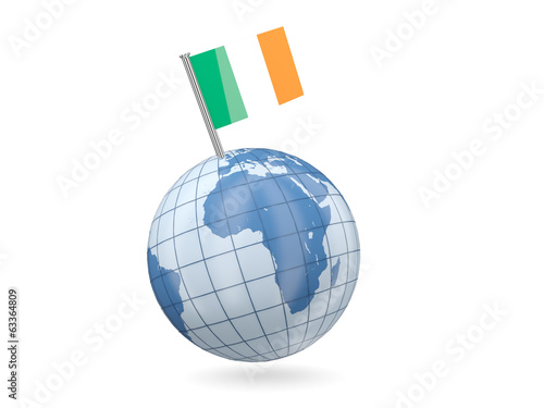 Globe with flag of ireland