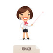 Female Manager With Laser Pointer