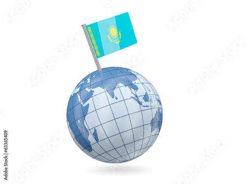 Globe with flag of kazakhstan