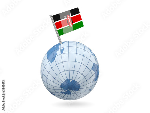 Globe with flag of kenya