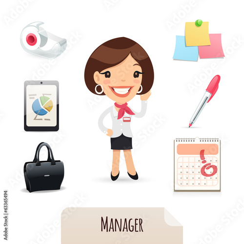 Female Manager Icons Set