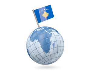 Globe with flag of kosovo