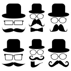 Set mustache, hats, glasses,
