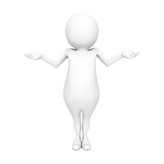 3d man standing and having no idea on white background