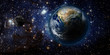 Space background with green light around the planet - 63366022