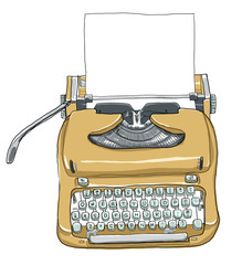 manual typewriter keyboard portable vintage and paper  line art