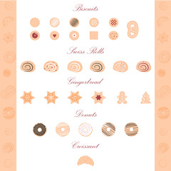 Vector illustration of pastry items