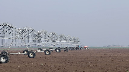 center pivot sprinkler system moving