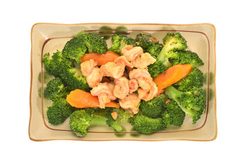 Serving Of Cooked Broccoli And Prawn