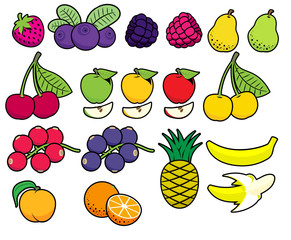 Vector fruits and berries in simplified style.