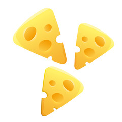 Cheese slices on white background.